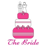 bride t-shirts with pink wedding cake