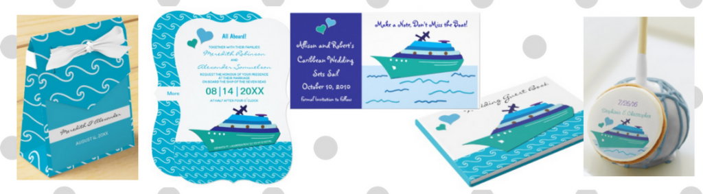 blue waves and ship wedding cruise invitations collection