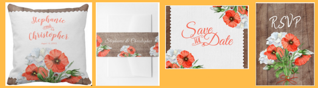 red poppy and rustic wood grain wedding invitation collection