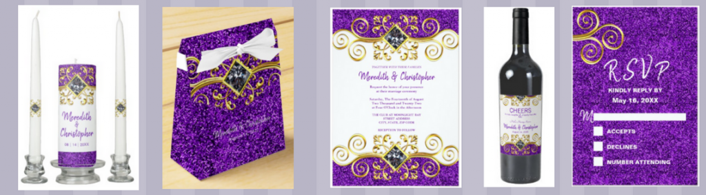 purple faux glitter gold and jewel wedding invitation collection