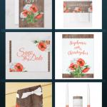 rustic poppies floral wedding suite