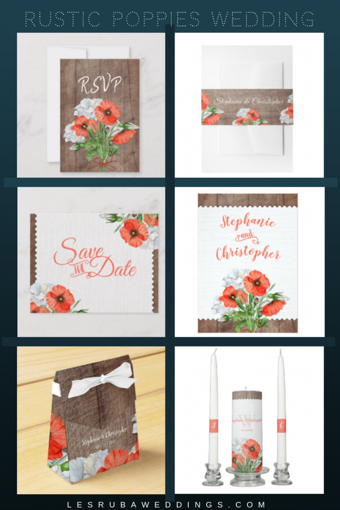 rustic poppies floral wedding suite