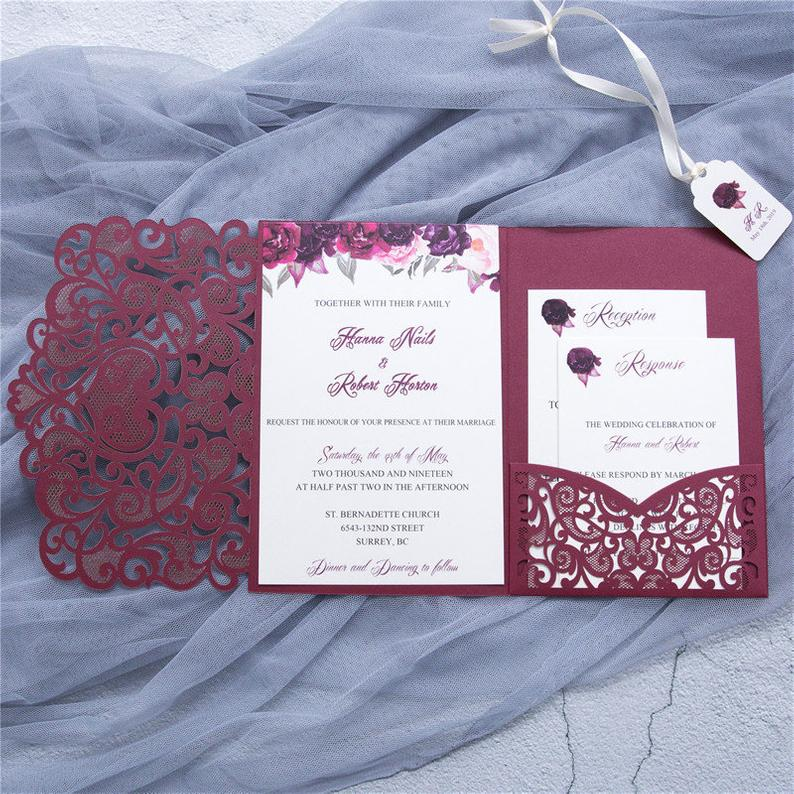 burgundy laser cut wedding invitation with pocket