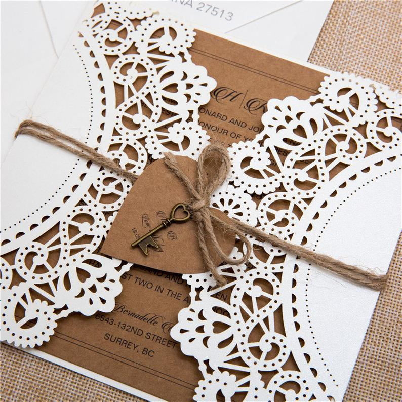 laser cut wedding invitation doily rustic tri fold lace