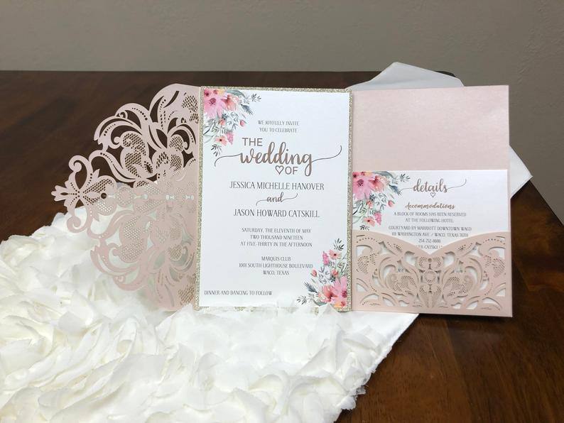 elegant lace laser cut wedding invitations with pockets
