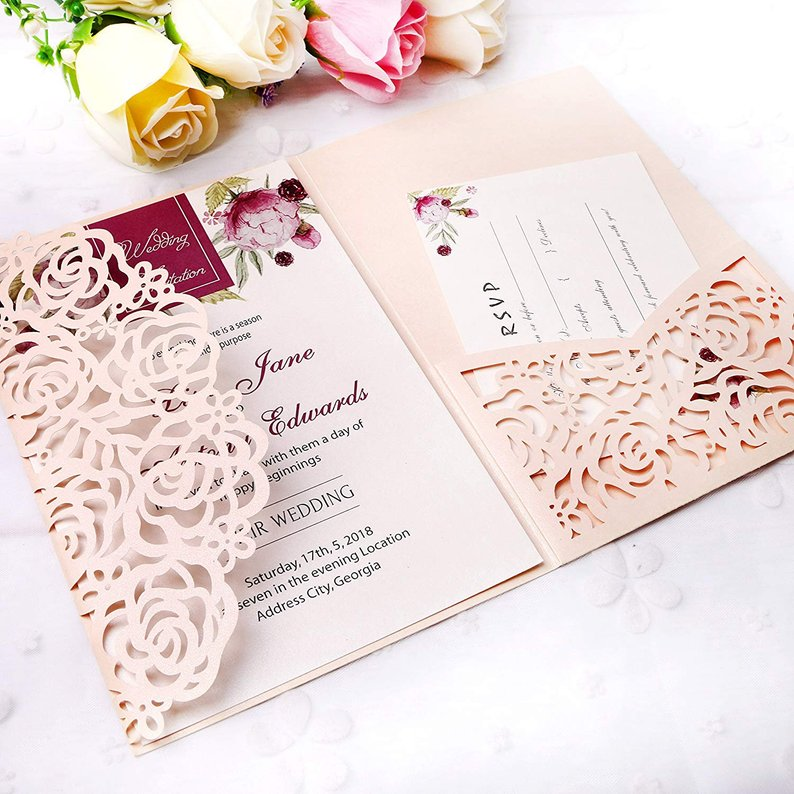blush pink lace cut wedding invitation with pocket for rsvp card