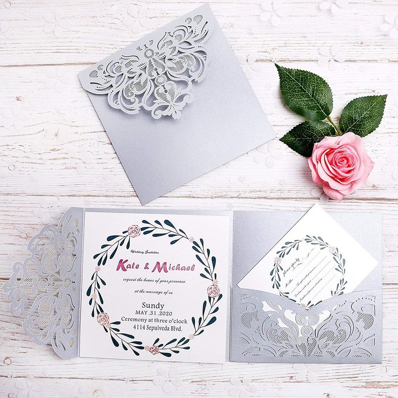 silver wedding invitation with rsvp pocket