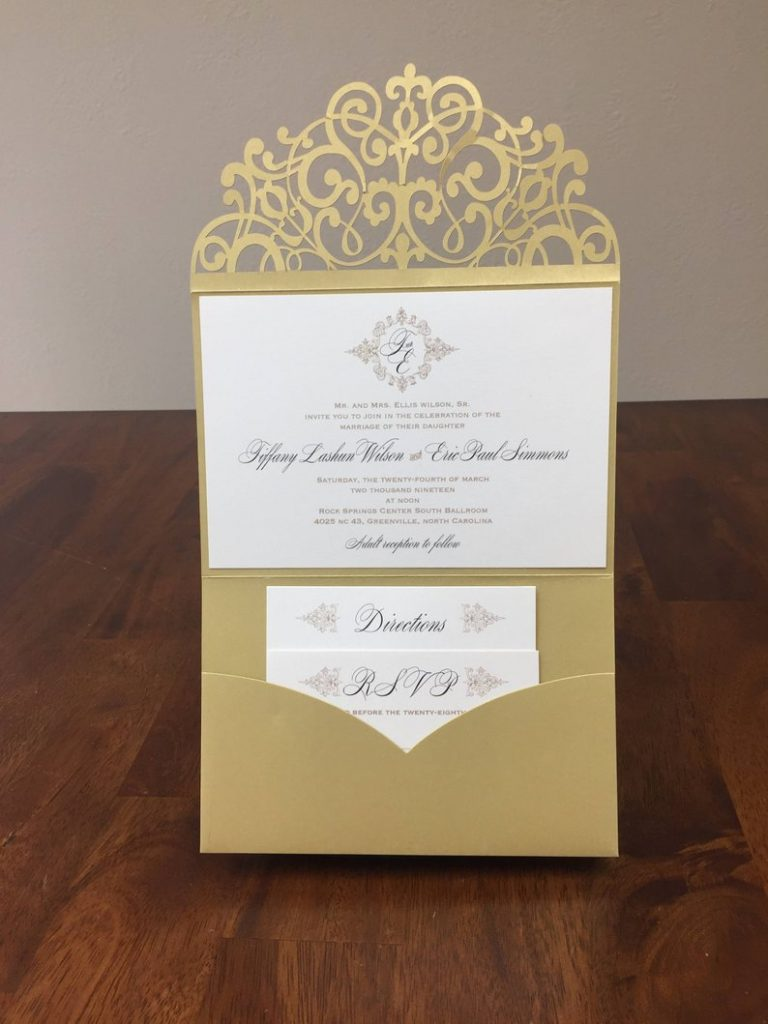 metallic gold wedding invitation lace cut