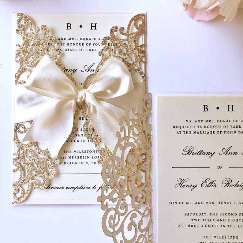 rose gold and ivory glittery wedding invitations